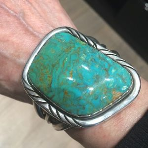 Jewelry - Exquisite Turquoise Signed Sterling Cuff